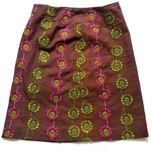 Lilly Pulitzer Brown Embroidered Pencil Skirt